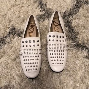 Sam Edelman white studded loafers, size 7.5